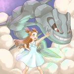 1girl 3710_asagi_(timeeeeeez) bow brown_hair clenched_hand dress gen_2_pokemon gym_leader hair_bobbles hair_ornament hand_up highres jasmine_(pokemon) long_hair looking_to_the_side pokemon pokemon_(creature) red_eyes sleeveless sleeveless_dress smile standing steelix teeth two_side_up white_bow white_dress