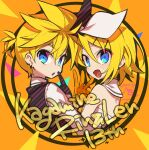 1boy 1girl anniversary bangs black_gloves black_vest blue_eyes bow character_name commentary dress earrings gloves hair_bow hair_ornament hairclip highres index_finger_raised jewelry kagamine_len kagamine_rin looking_at_viewer looking_back negi_(ulog'be) open_mouth orange_gloves shirt smile spiky_hair swept_bangs upper_body vest vocaloid w white_bow white_dress white_shirt