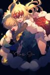 1boy 1girl alternate_costume ascot black_background black_gloves blonde_hair blush brother_and_sister buttons castor_(fate/grand_order) christmas cis05 closed_eyes commentary_request diadem dress elbow_gloves english_text eyebrows_visible_through_hair fate/grand_order fate_(series) fur-trimmed_dress fur-trimmed_gloves fur_trim gloves hair_between_eyes hair_ornament hug hug_from_behind long_hair long_sleeves open_mouth pants parted_lips plaid plaid_dress pollux_(fate/grand_order) red_dress red_nose shirt short_hair siblings simple_background smile star_(symbol) teeth twinkle_star_(fate/grand_order) twins violet_eyes white_shirt