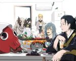 2boys 2girls bag bangs black_eyes black_hair black_kimono black_shirt blonde_hair blue_hair blunt_bangs cardigan chopsticks cup dagon_(jujutsu_kaisen) ear_piercing eyebrows_visible_through_hair fire flame food getou_suguru grill grilling hair_between_eyes hair_bun hair_pulled_back hanami_(jujutsu_kaisen) heterochromia highres holding holding_bag holding_chopsticks holding_cup indoors japanese_clothes jogo_(jujutsu_kaisen) jujutsu_kaisen kimono long_hair long_sleeves looking_at_viewer mahito_(jujutsu_kaisen) meat mimiko_(jujutsu_kaisen) monster mouth_hold multiple_boys multiple_girls mushroom nanako_(jujutsu_kaisen) neck_ribbon nonockha one-eyed open_mouth patchwork_skin piercing plate profile refrigerator ribbon sailor_collar school_uniform serafuku shirt stitches table teeth upper_body v-shaped_eyebrows vegetable white_shirt yellow_eyes yellow_ribbon