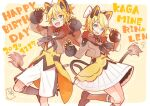 1boy 1girl animal_costume animal_ears aqua_eyes argyle_print bangs black_gloves black_neckwear blonde_hair bow brown_jacket character_name claw_pose commentary cowboy_shot dated fang fur-trimmed_gloves fur-trimmed_jacket fur_trim gloves hair_bow hair_ornament hairclip happy_birthday jacket kagamine_len kagamine_rin kneehighs lion_costume lion_ears lion_tail looking_at_viewer magical_mirai_(vocaloid) miniskirt neckerchief open_mouth pleated_skirt short_hair shorts skirt smile standing swept_bangs tail tama_(songe) vest vocaloid white_bow white_shorts white_skirt yellow_background yellow_vest