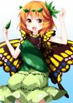 1girl aki_shizuha arms_up bangs blue_background butterfly_wings cosplay cowboy_shot dress eternity_larva eternity_larva_(cosplay) eyebrows_visible_through_hair gradient gradient_background green_dress green_skirt hair_ornament highres holding holding_leaf leaf leaf_hair_ornament leaf_on_head looking_at_viewer medium_hair open_mouth orange_eyes orange_hair ruu_(tksymkw) short_sleeves single_strap skirt smile solo touhou wings yellow_wings
