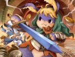 1boy 1girl animal_ear_fluff apron armor blonde_hair closed_eyes coin cornelius_(odin_sphere) eating food furry green_hood highres holding holding_food holding_sword holding_weapon hood odin_sphere plate pooka_(odin_sphere) rabbit sho.t signature sparkle sword weapon white_apron white_hair