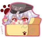 1girl absurdres azur_lane bangs black_headwear blush box cardboard_box eyebrows_visible_through_hair fang graf_zeppelin_(azur_lane) hair_between_eyes hand_up hat highres in_box in_container kurukurumagical open_mouth outline peaked_cap pink_outline red_eyes sample silver_hair solo translation_request v-shaped_eyebrows white_background