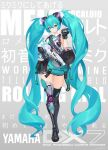 1girl absurdly_long_hair absurdres ahoge aqua_eyes aqua_hair aqua_neckwear black_gloves black_legwear commentary controller cyborg english_text fingerless_gloves full_body gloves gun hair_between_eyes hatsune_miku headgear hichi highres holding holding_gun holding_weapon long_hair mechanical_arm mechanical_leg military_operator mixed-language_commentary necktie pouch public_address_system remote_control shirt shoulder_tattoo single_glove single_thighhigh sleeveless sleeveless_shirt smile solo song_name speaker submachine_gun suspenders_hanging tattoo thigh-highs translated trigger_discipline twintails very_long_hair vocaloid weapon