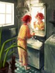 1girl ahoge barefoot bathroom blurry_foreground bottle brushing_teeth cup full_body holding holding_cup holding_toothbrush long_sleeves mame_usagi mirror original pajamas patterned_clothing plant redhead shelf short_hair sink solo standing toothbrush window yellow_pajamas