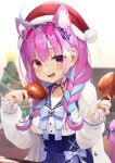 1girl ^^^ anchor_hair_ornament anchor_symbol animal_ear_fluff animal_ears bangs blue_bow blue_hair blue_hairband blue_ribbon blue_sailor_collar blue_skirt blurry blurry_background blush bow braid breasts cat_ears cat_girl cat_tail chicken_leg christmas christmas_ornaments christmas_tree commentary_request depth_of_field eyebrows_visible_through_hair eyewear_on_head food frilled_sailor_collar fur-trimmed_headwear grey-framed_eyewear hair_ornament hair_over_shoulder hairband hands_up hat heart heart-shaped_eyewear high-waist_skirt highres holding holding_food hololive jacket long_hair long_sleeves looking_at_viewer medium_breasts minato_aqua multicolored_hair nail_polish open_clothes open_jacket open_mouth pink_hair red_headwear ribbon sailor_collar santa_hat shirt skirt solo sweat tail tail_ornament tail_ribbon tokoshibyra twin_braids two-tone_hair violet_eyes virtual_youtuber white_jacket white_shirt