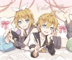 1boy 1girl anniversary arm_rest arm_warmers bangs bare_shoulders barefoot black_collar black_shorts blonde_hair blue_eyes bow character_name collar feet_up gift_bag grey_collar grey_shorts grin hair_bow hair_ornament hairclip hand_on_own_cheek hand_on_own_face kagamine_len kagamine_rin leg_warmers looking_at_viewer lying necktie on_stomach open_mouth paper red_ribbon ribbon sailor_collar school_uniform sheet_music shirt short_hair short_ponytail short_shorts short_sleeves shorts smile spiky_hair swept_bangs utaori vocaloid white_bow white_shirt yellow_neckwear