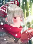 1girl alternate_costume bangs blunt_bangs blurry blurry_background blush bow breath coat commentary_request eyebrows_visible_through_hair from_side fujiwara_no_mokou gloves grey_coat grey_hair hair_bow half_updo hands_up highres hime_cut knit_gloves knitting long_hair mittens mokoiscat nose_blush ofuda open_mouth own_hands_together portrait red_bow red_eyes red_gloves red_scarf scarf sidelocks signature silver_hair snow snowing solo touhou two-tone_bow white_bow winter winter_clothes