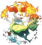 :d bellossom braixen commentary creature english_commentary fang fire flower full_body gen_2_pokemon gen_5_pokemon gen_6_pokemon happy holding holding_stick looking_at_another no_humans open_mouth pinkgermy pokemon pokemon_(creature) signature simple_background smile stick vanillite white_background
