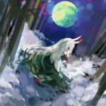 1girl bamboo clouds commentary_request cravat dress dutch_angle ex-keine full_moon green_dress highres horn_ornament horn_ribbon horns kaigen_1025 kamishirasawa_keine light_green_hair long_hair looking_back moon night night_sky profile red_eyes red_neckwear ribbon sitting sky smoke solo touhou very_long_hair yokozuwari