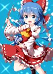 (9) 1girl ascot bangs black_footwear blue_background blue_eyes blue_hair bow cirno collarbone cosplay detached_sleeves eyebrows_visible_through_hair frilled_bow frilled_skirt frills gohei hair_between_eyes hair_bow hakurei_reimu hakurei_reimu_(cosplay) highres holding ice ice_wings leg_up light_particles looking_at_viewer nontraditional_miko ofuda open_mouth red_bow red_ribbon red_shirt ribbon ribbon-trimmed_skirt ribbon-trimmed_sleeves ribbon_trim ruu_(tksymkw) shirt short_hair skirt smile solo star_(sky) touhou v-shaped_eyebrows white_legwear white_ribbon wide_sleeves wings yellow_neckwear