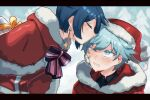 2boys absurdres bandaid bangs blue_eyes blue_hair blurry blurry_background blush chongyun_(genshin_impact) christmas closed_eyes crying crying_with_eyes_open earrings eyebrows_visible_through_hair forehead_kiss fur fur_collar fur_trim genshin_impact gift hat highres jewelry kiss looking_up mujintou_png multiple_boys one_eye_closed open_mouth ribbon santa_costume santa_hat short_hair simple_background tears xingqiu_(genshin_impact)