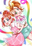 2girls :d aqua_shorts back-to-back bare_legs belt blush bow collarbone colored_eyelashes commentary cowboy_shot creator_connection dress eyebrows eyebrows_visible_through_hair flower from_side go!_princess_precure green_eyes hair_bow hair_bun hair_flower hair_ornament hair_strand happy haruno_haruka highres locked_arms long_hair looking_at_viewer looking_to_the_side multiple_girls namesake natsumi_manatsu open_mouth orange_hair pink_dress precure round_teeth shell_necklace short_hair shorts side_ponytail signature smile sonna877san teeth tropical-rouge!_precure upper_teeth yellow_bow