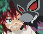 1boy bangs bodypaint clenched_teeth commentary_request eyebrows_visible_through_hair gen_8_pokemon green_eyes highres koko_(pokemon) male_focus mythical_pokemon one_eye_closed petagon pokemon pokemon_(anime) pokemon_(creature) pokemon_m23 red_eyes red_sclera shirtless signature smile teeth zarude