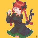1girl :3 animal_ear_fluff animal_ears bangs black_bow black_dress blunt_bangs blush bow braid bright_pupils cat_ears cat_tail dress eyebrows_visible_through_hair fang hair_bow head_tilt highres juliet_sleeves kaenbyou_rin kneeling long_hair long_sleeves looking_at_viewer multiple_tails nekomata orange_background outline parted_lips paw_pose puffy_sleeves red_eyes redhead sidelocks signature simple_background solo tail touhou twin_braids twintails two_tails white_outline white_pupils zanasta0810