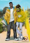 2boys baggy_clothes baptiste_(overwatch) beard black_pants blurry blurry_background casual chain_necklace character_name copyright_name dark_skin dark_skinned_male denim facial_hair full_body goatee goggles green-tinted_eyewear grey_pants hair_ornament hair_scrunchie hairlocs hand_in_pocket hands_in_pockets headphones headphones_around_neck highres hood hooded_jacket hoodie jacket jeans jewelry laughing long_hair lucio_(overwatch) male_focus multiple_boys necklace nike overwatch overwatch_(logo) pants rimless_eyewear scouter scrunchie shoes short_hair sneakers torn_clothes torn_jeans torn_pants undercut upper_teeth very_dark_skin white_footwear wireless yellow_hoodie yellow_jacket yellow_scrunchie yshua