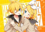 1boy 1girl :d :p bangs bass_clef birthday black_collar blonde_hair blue_eyes bow brown_sweater character_name collar commentary grey_collar grid_background grin hair_bow hair_ornament hairclip hand_on_another's_waist hands_together happy_birthday heart kagamine_len kagamine_rin looking_at_viewer minahoshi_taichi necktie one_eye_closed open_mouth sailor_collar school_uniform shirt short_hair short_ponytail smile spiky_hair star_(symbol) sweater swept_bangs tongue tongue_out treble_clef triangle twitter_username upper_body vocaloid white_bow white_shirt yellow_neckwear