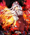 1girl bangs blunt_bangs boots bow closed_mouth collared_shirt commentary_request dutch_angle expressionless eyebrows_behind_hair feet_out_of_frame fire flat_chest floating_hair fujiwara_no_mokou hair_bow hands_in_pockets highres juliet_sleeves kaigen_1025 leaf long_hair long_sleeves looking_ahead maple_leaf ofuda_on_clothes pants puffy_sleeves red_bow red_eyes red_footwear red_pants shirt solo standing suspenders touhou two-tone_bow very_long_hair white_bow white_hair white_shirt