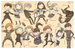 6+boys 6+girls absurdres amiguchi_shuu animal artist_name bag bandages bangs bj_(juusan_kihei_bouei_ken) black_hair black_jacket black_legwear black_skirt blonde_hair blush braid brown_hair buruma cat character_name chihiro_(juusan_kihei_bouei_ken) closed_eyes flower food fuyusaka_iori glasses gouto_renya grey_hair gym_uniform hair_flower hair_ornament hair_ribbon hairclip hand_on_hip hat highres hijiyama_takatoshi holding holding_food jacket juusan_kihei_bouei_ken kisaragi_tomi kurabe_juro long_hair long_sleeves minami_natsuno miura_keitaro multiple_boys multiple_girls neckerchief ogata_nenji one_eye_closed open_mouth out_of_frame pants pantyhose pill_bottle pompadour purple_neckwear red-framed_eyewear ribbon school_bag school_uniform sekigahara_ei shinonome_ryouko_(juusan_kihei_bouei_ken) shippou_(juusan_kihei_bouei_ken) sho.t short_hair simple_background skirt sweat takemiya_yuki thigh-highs twin_braids wavy_mouth white_legwear yakushiji_megumi