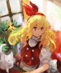 1girl :o animal bangs blonde_hair buttons cat commentary_request curly_hair ellen_(touhou) eyebrows_behind_hair flat_chest hair_between_eyes hair_ribbon hairband highres indoors kaigen_1025 long_hair looking_to_the_side plant puffy_short_sleeves puffy_sleeves red_hairband red_ribbon red_vest ribbon shirt short_sleeves sitting solo table touhou touhou_(pc-98) turtleneck upper_body vest wavy_hair white_cat white_shirt window yellow_eyes