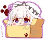 1girl :d absurdres ahoge azur_lane bangs blue_eyes blush box cardboard_box chibi eyebrows_visible_through_hair hands_up hat highres illustrious_(azur_lane) in_box in_container kurukurumagical open_mouth outline purple_outline sample silver_hair smile solo translation_request white_background white_headwear