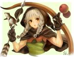 1girl animal apple arrow_(projectile) bangs black_gloves border bow_(weapon) braid breasts brown_eyes cape cropped_torso dragon's_crown elf elf_(dragon's_crown) food fruit gloves green_background grey_hair highres holding holding_arrow holding_bow_(weapon) holding_weapon hood hood_up hooded_cape long_hair medium_breasts parted_lips pointy_ears ponytail sho.t signature simple_background sleeveless squirrel twin_braids upper_body weapon white_border
