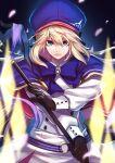 1girl artoria_pendragon_(all) artoria_pendragon_(caster) bangs black_background black_gloves blonde_hair blue_capelet blue_headwear blue_neckwear bow bowtie breasts brooch capelet cherry_blossoms commentary_request double-breasted fate/grand_order fate_(series) gloves hat holding holding_staff jewelry long_hair long_sleeves looking_at_viewer magic petals re_(re_09) shirt solo staff upper_body white_shirt