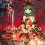 1girl :d abstract arm_ribbon bangs boots bow brown_dress brown_footwear commentary_request dress eyebrows_behind_hair falling_leaves frills front_ponytail green_eyes green_hair hair_bow hair_ribbon half-closed_eyes highres jitome kagiyama_hina kaigen_1025 knee_up leaf long_hair looking_to_the_side maple_leaf open_mouth puffy_short_sleeves puffy_sleeves red_bow red_ribbon ribbon short_sleeves smile solo touhou water