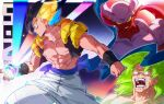 3boys abs angry backlighting baggy_pants bangs belt black_hair blonde_hair blue_belt blue_hair broly_(dragon_ball_super) clenched_hand clenched_teeth colorful dark_background dragon_ball dragon_ball_super dragon_ball_super_broly dragon_ball_z energy_ball evil_smile expressionless facing_away facing_viewer feet_out_of_frame fighting_stance fingernails frown glowing gogeta gradient gradient_background green_eyes green_hair growling halo highres horns janemba legs_apart light_particles light_rays looking_at_viewer male_focus messy_hair metamoran_vest multiple_boys muscular no_pupils open_mouth pants parted_lips pectorals pink_background pointy_ears profile purple_background qiashucai saliva saliva_trail scar scar_on_chest sharp_teeth smile sparkle spiky_hair split_theme standing stardust_breaker super_saiyan super_saiyan_1 super_saiyan_blue super_saiyan_full_power tail teeth veins white_pants wristband