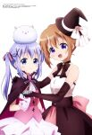 2girls :d absurdres back_bow bangs bare_shoulders black_neckwear blue_eyes blue_hair bow bridal_gauntlets brown_dress candy cape choker closed_mouth cowboy_shot dress eyebrows_visible_through_hair flower food gochuumon_wa_usagi_desu_ka? hair_ornament hair_ribbon hand_on_another's_shoulder hat hat_flower hat_ribbon highres holding holding_candy holding_food hoto_cocoa kafuu_chino katou_hiromasa looking_at_viewer magazine_scan medium_hair megami_magazine multiple_girls official_art open_mouth orange_hair phantom_thief_lapin pink_dress pink_vest rabbit ribbon scan sidelocks simple_background smile standing tippy_(gochiusa) twintails vest violet_eyes white_background witch witch_hat x_hair_ornament