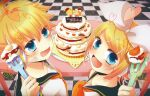 1boy 1girl bangs bass_clef black_collar blonde_hair blue_eyes bow cake checkered checkered_floor collar commentary food fork from_above from_behind hair_bow hair_ornament hairclip headphones headset heart highres holding holding_fork kagamine_len kagamine_rin kanami_(knmstar) layered_cake looking_at_viewer looking_back neckerchief necktie sailor_collar school_uniform shirt short_hair short_ponytail sparkle spiky_hair swept_bangs table treble_clef upper_body vocaloid white_bow white_shirt yellow_neckwear