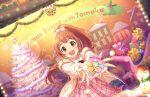 blush brown_eyes brown_hair christmas dress idolmaster_cinderella_girls_starlight_stage long_hair ponytail smile wakabayashi_tomoka