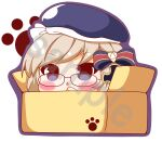 1girl :< absurdres azur_lane bangs beret black-framed_eyewear blue_eyes blue_headwear blush bow box brown_hair cardboard_box chibi commentary_request eyebrows_visible_through_hair glasses hair_bow hand_up hat highres in_box in_container kurukurumagical outline parted_lips purple_outline sample solo striped striped_bow triangle_mouth white_background z23_(azur_lane)