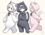 3girls :d :o ^_^ animal_costume animal_ears animal_hood bangs black_hair brown_background capriccio cat_costume cat_ears cat_hood cat_tail closed_eyes commentary_request dated eyebrows_visible_through_hair fake_animal_ears fake_tail fang green_eyes hair_between_eyes hood hood_up kaburi_chiko kapu_rinko long_sleeves multiple_girls ochi_ripca open_mouth original parted_lips pink_hair profile puffy_long_sleeves puffy_sleeves red_eyes signature sleeves_past_wrists smile tail tail_raised white_hair