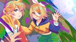 1boy 1girl balloon blonde_hair blue_eyes bow brick_wall colorful commentary drawstring feathers hair_bow highres hood hoodie kagamine_len kagamine_rin looking_at_viewer midriff navel open_mouth orange_hoodie ponta_(poqpon) reflection short_ponytail shorts spiky_hair upper_body vocaloid white_bow
