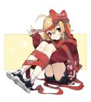 1girl absurdres ahoge bangs black_footwear black_shorts blush bow commentary_request eyebrows_behind_hair full_body hair_between_eyes hair_intakes highres knees_up leg_hug light_brown_hair long_sleeves looking_at_viewer parted_lips puffy_long_sleeves puffy_sleeves red_bow red_eyes red_ribbon red_sweater ribbon rumia sh_(562835932) shoes short_shorts shorts sitting sleeves_past_wrists smile socks solo striped striped_bow sweater touhou v white_background white_legwear