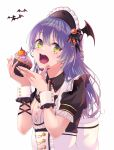1girl absurdres asahi_rokka bang_dream! bangs bat bat_hair_ornament blue_hair bow cosplay crumbs cupcake eating eyebrows_visible_through_hair food food_on_face gem green_eyes hair_ornament halloween highres holding holding_food jack-o'-lantern large_bow long_hair looking_at_viewer open_mouth persimmon2 simple_background solo upper_body waitress white_background wiping_mouth wrist_cuffs