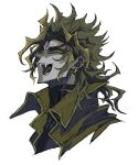 10den 1boy blonde_hair collarbone covered_collarbone dio_brando earrings face fangs glint headband heart highres jewelry jojo_no_kimyou_na_bouken male_focus open_mouth simple_background sketch smile solo spiky_hair tongue turtleneck upper_body vampire white_background yellow_eyes