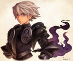 1boy armor artist_name bangs black_armor closed_mouth cropped_jacket heterochromia highres male_focus odin_sphere oswald_(odin_sphere) red_eyes sho.t silver_hair simple_background solo upper_body violet_eyes