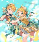 1boy 1girl anniversary aqua_eyes beret blonde_hair blue_sky blurry_foreground collar commentary cowboy_shot day english_commentary falling_petals finger_to_mouth flower frilled_skirt frills grin hair_ornament hairclip half-closed_eyes hat heart heart_hair_ornament heart_print kagamine_len kagamine_rin looking_at_viewer petals plaid plaid_shorts plaid_skirt sailor_collar shinotarou_(nagunaguex) shirt short_hair shorts skirt sky smile spiky_hair triangle vocaloid white_collar white_headwear wristband x_hair_ornament yellow_flower yellow_shirt yellow_skirt
