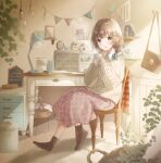 1girl ankle_socks arms_up bag bangs barrett basket blurry_foreground blush braid brown_legwear brown_sweater cabinet camera ceiling_light chair chalkboard coffee_mug commentary_request cup desk desk_lamp envelope floral_print french_text green_eyes hair_ornament hair_ribbon hairclip handbag highres holding holding_cup hoshiibara_mato indoors jar lamp light_brown_hair light_bulb looking_at_viewer low_braid mug open_mouth original picture_frame pink_skirt plant ribbon rug scissors shelf shirt short_hair sitting skirt sleeves_past_wrists solo streamers sweater table trash_can twin-lens_reflex_camera twin_braids white_shirt wooden_floor
