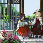 2girls blonde_hair blue_eyes blue_hair bow brown_footwear brown_headwear brown_skirt brown_vest cabbie_hat chair closed_eyes closed_mouth collared_shirt cross cup detached_sleeves dolls_in_pseudo_paradise flat_cap flower frilled_hat frilled_skirt frills happy hat hat_feather highres holding holding_cup jacket_girl_(dipp) juliet_sleeves kaigen_1025 label_girl_(dipp) long_hair long_skirt long_sleeves mary_janes midriff midriff_peek multiple_girls navel no_socks off_shoulder outdoors puffy_sleeves red_bow red_footwear red_neckwear red_skirt ribbon shirt shoes side_ponytail sitting skirt socks standing table teacup teapot touhou vest wavy_hair white_bow white_neckwear white_ribbon white_shirt white_vest wide_sleeves