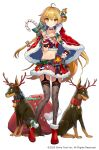 1girl ahoge ainy animal antlers blonde_hair boots candy candy_cane capelet chiba_karin christmas closed_mouth collarbone crop_top detached_collar dog food full_body fur_trim garter_straps grey_legwear hand_on_hip highres holding long_hair looking_at_viewer mahjong_hime midriff miniskirt navel official_art one_side_up red_footwear red_shirt red_skirt reindeer_antlers rottweiler sack shirt simple_background skirt smile solo standing stomach thigh-highs v-shaped_eyebrows very_long_hair white_background wrist_cuffs yellow_eyes zettai_ryouiki