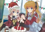2girls absurdres apron bangs black_ribbon blonde_hair blue_apron blue_eyes blurry blurry_background blush brown_skirt cake camera charlotte_(anime) closed_mouth collared_shirt cooking eyebrows_visible_through_hair food fur-trimmed_headwear fur-trimmed_shirt fur_trim hair_between_eyes hair_ribbon hat highres holding holding_camera hoshinoumi_academy_uniform indoors leaning_forward long_hair long_sleeves miniskirt miyoshino multiple_girls neckerchief nishimori_yusa pleated_skirt red_headwear red_shirt ribbon sailor_collar sailor_shirt santa_hat shiny shiny_hair shirt silver_hair skirt standing sweatdrop tomori_nao very_long_hair white_sailor_collar yellow_neckwear