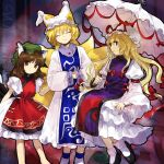 3girls ^_^ animal_ears black_footwear blonde_hair bobby_socks bow breasts brown_eyes brown_hair cat_ears cat_tail chen closed_eyes closed_mouth commentary_request contrapposto dress feet_out_of_frame fox_ears fox_tail green_headwear hair_between_eyes hair_bow hands_in_opposite_sleeves hat hat_ribbon highres holding holding_umbrella jewelry kaigen_1025 long_hair looking_at_viewer medium_hair mob_cap multiple_girls multiple_tails nekomata parasol profile puffy_short_sleeves puffy_sleeves red_bow red_ribbon ribbon short_hair short_sleeves single_earring sitting small_breasts smile socks standing tabard tail touhou two_tails umbrella very_long_hair violet_eyes white_dress white_headwear white_legwear yakumo_ran yakumo_yukari