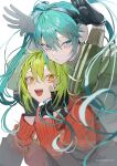2girls absurdres aqua_eyes aqua_hair bangs black_gloves facial_mark gloves green_hair green_jacket gumi hair_between_eyes hands_on_own_cheeks hands_on_own_face hatsune_miku headphones highres hood hoodie jacket long_hair long_sleeves matryoshka_(vocaloid) multiple_girls open_mouth orange_eyes red_jacket sakusya2honda short_hair sidelocks simple_background track_jacket twintails twitter_username upper_body vocaloid white_background