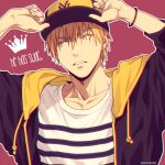 1boy adjusting_clothes adjusting_headwear arms_up bangs baseball_cap blonde_hair bracelet casual collarbone commentary_request crown drawstring earrings english_text hair_between_eyes hat hood hood_down hoodie jewelry kise_ryouta kuroko_no_basuke looking_to_the_side male_focus mashima_shima open_clothes open_hoodie outline parted_lips pink_background purple_headwear purple_hoodie shirt short_hair single_earring solo striped striped_shirt twitter_username upper_body white_outline white_shirt yellow_eyes