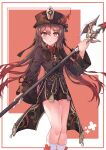 1girl absurdres black_headwear black_shirt black_shorts brown_hair closed_mouth collared_shirt floating_hair flower genshin_impact gradient_hair hair_between_eyes halberd hat hat_flower highres holding holding_weapon hu_tao long_hair long_sleeves looking_at_viewer multicolored_hair polearm qing_guanmao red_eyes shirt short_shorts shorts socks solo star-shaped_pupils star_(symbol) symbol-shaped_pupils tailcoat thighs tito-ri twintails undershirt weapon white_legwear wide_sleeves