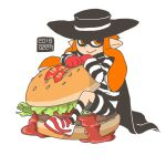 1girl black_cape black_headwear black_legwear black_shorts cape closed_mouth collared_shirt commentary_request cosplay dated domino_mask double_bun food giant_food gloves hair_over_shoulder hamburger hamburglar hamburglar_(cosplay) hat horizontal_stripes inkling ketchup lettuce long_hair long_sleeves looking_away mask mcdonald's multicolored_footwear nanndana on_food orange_eyes orange_hair pickle pointy_ears print_neckwear red_footwear red_gloves sesame_seeds shirt shoes shorts smile sneakers socks solo splatoon_(series) striped striped_legwear striped_shirt striped_shorts suction_cups transparent_background two-tone_footwear two-tone_shirt two-tone_shorts white_footwear white_legwear white_shorts